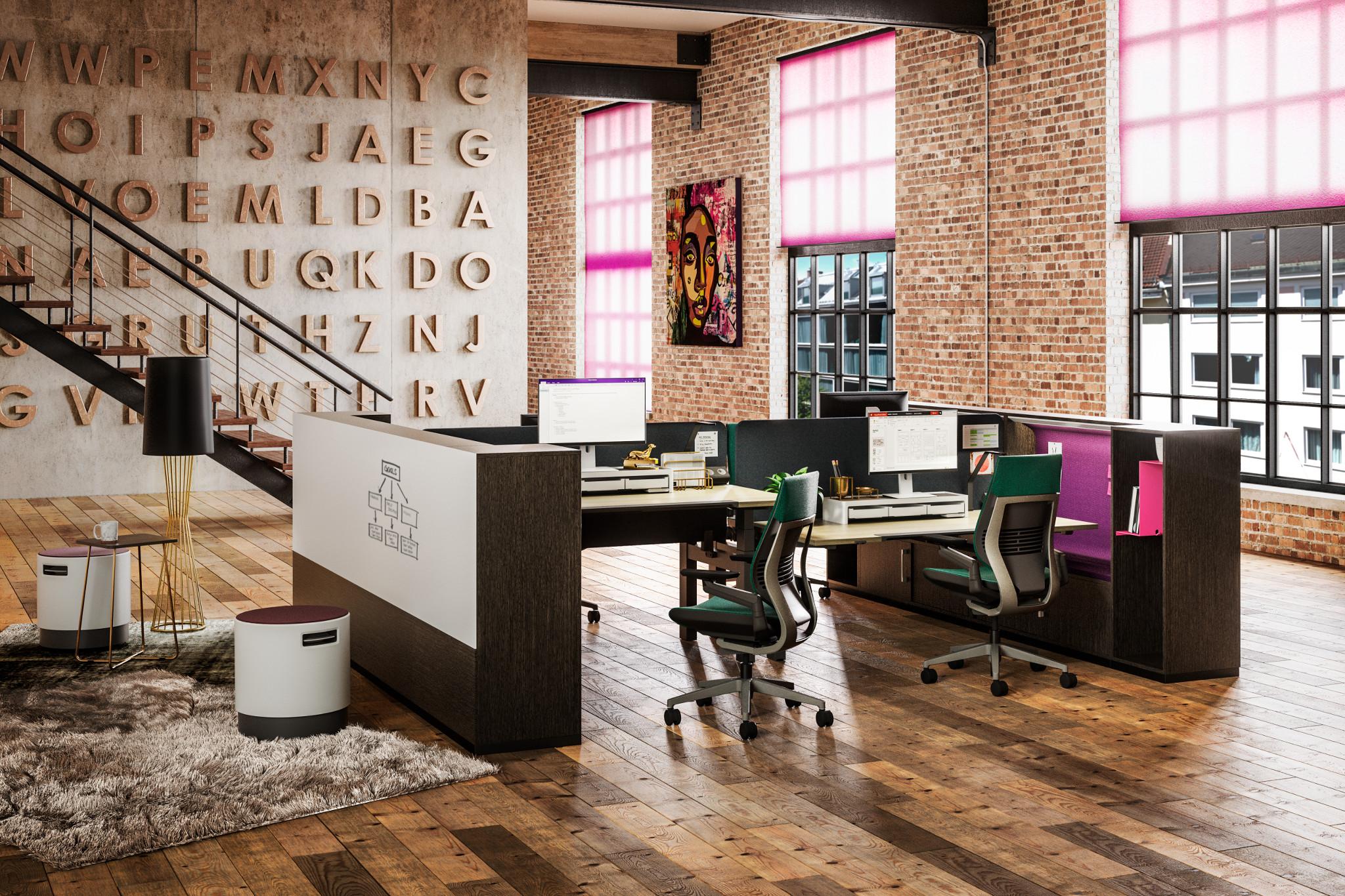 Espace de bureau avec du mobilier de Steelcase