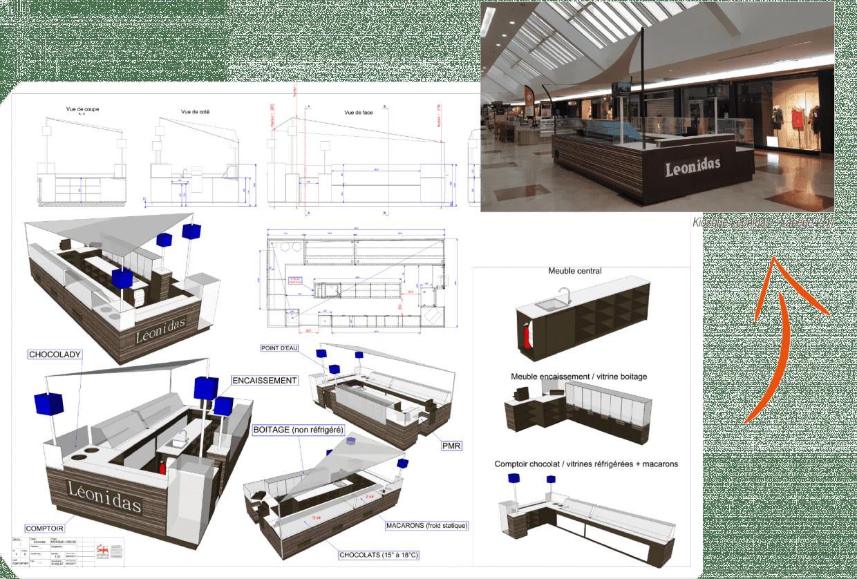 Plan de fabrication d'un mobilier et une photo du résultat final pour le stand de Léonidas