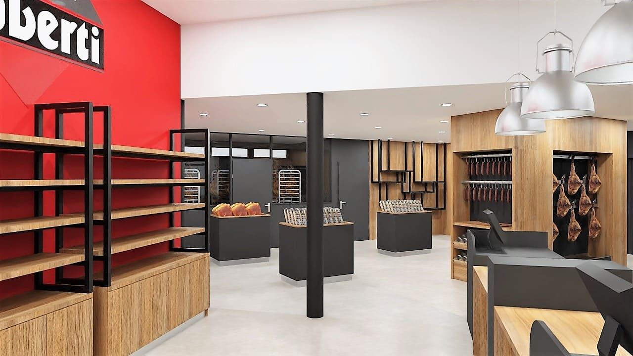 Maquette 3D de l'intérieur de la boutique Oberti à Lacaune agencé par SAFRA Agencement