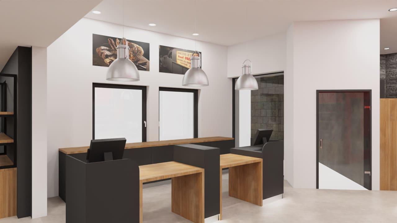 Maquette 3D du comptoir de vente de la boutique Oberti à Lacaune agencé par SAFRA Agencement