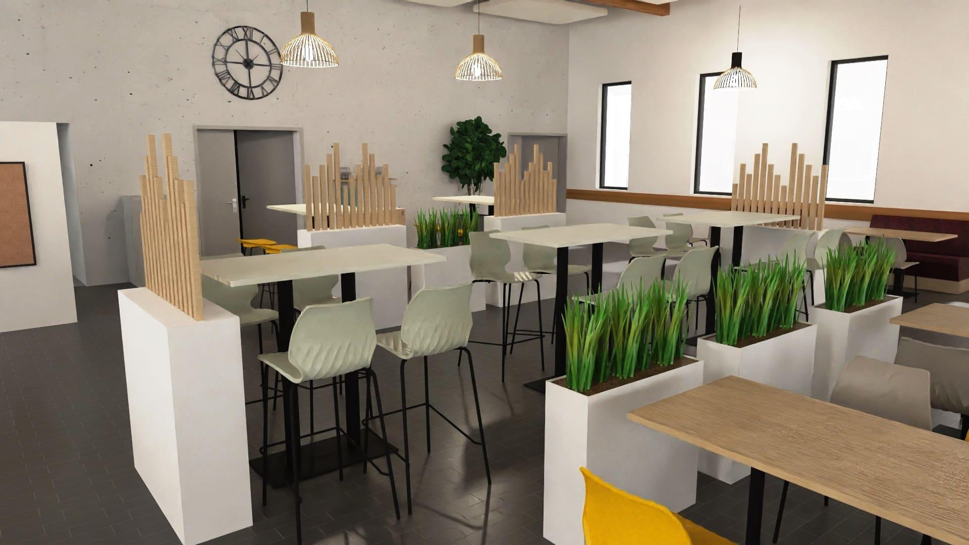 Maquette 3D de l'espace de restauration de TRIFYL agencé par SAFRA Agencement