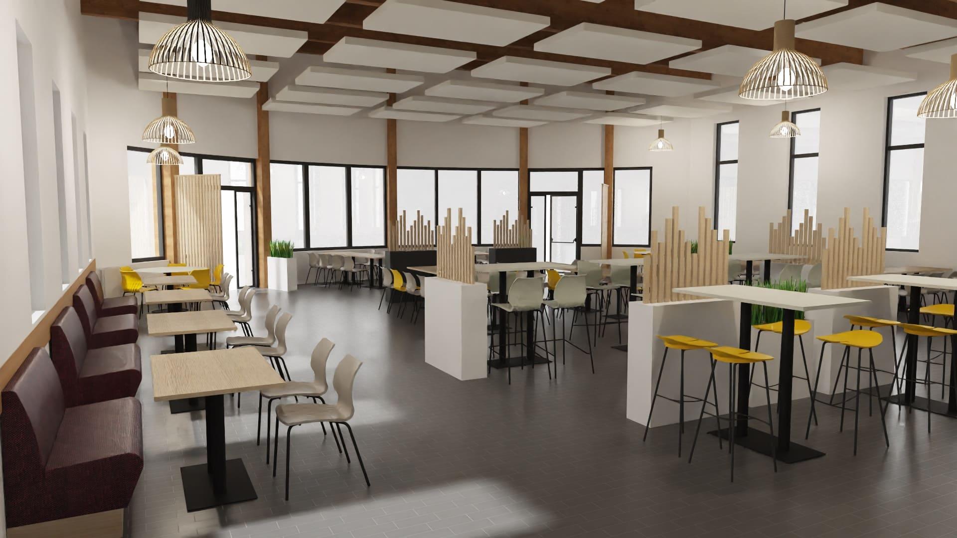 Maquette 3D de la salle de déjeuner de TRIFYL conçut par SAFRA Agencement