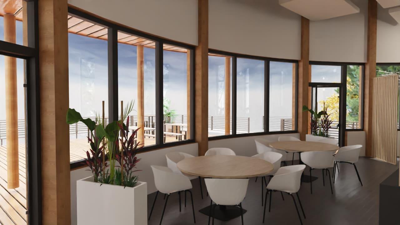 Maquette 3D des tables rondes de la salle de déjeuner de TRIFYL agencée par SAFRA Agencement