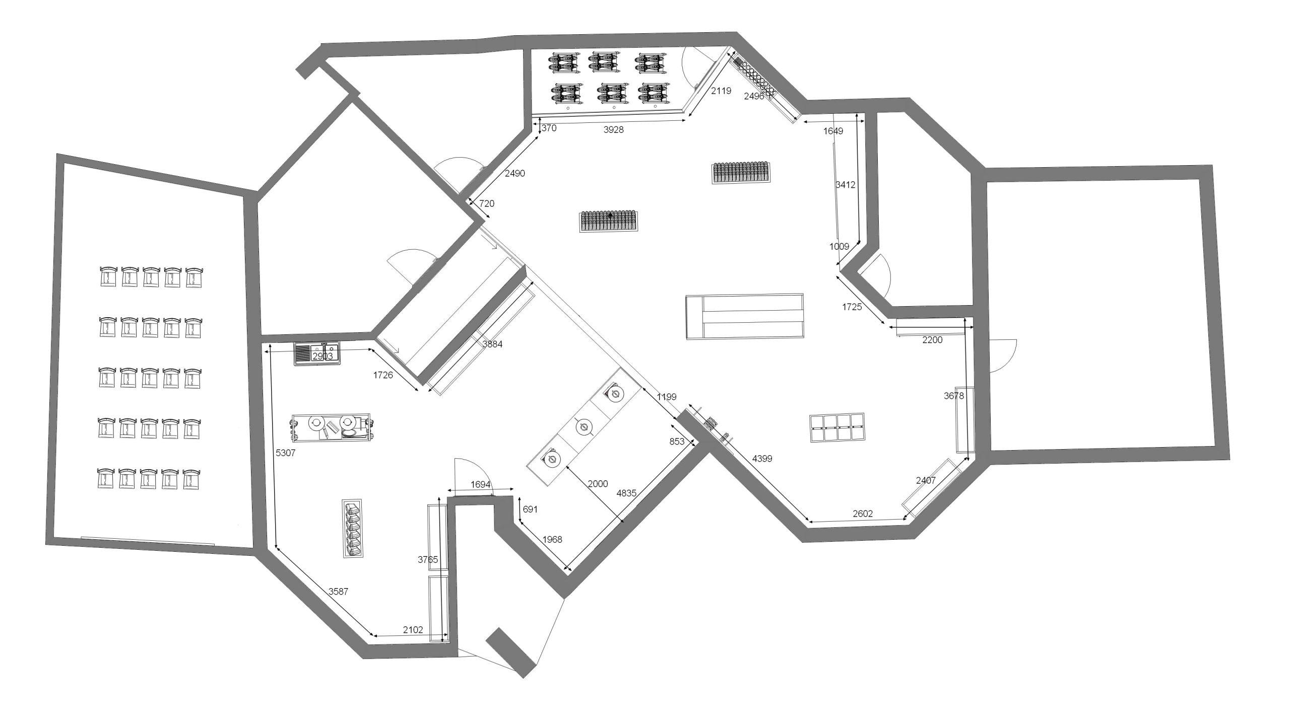 Plan 2D de l'agencement du magasin Oberti à Lacaune réalisé par SAFRA Agencement