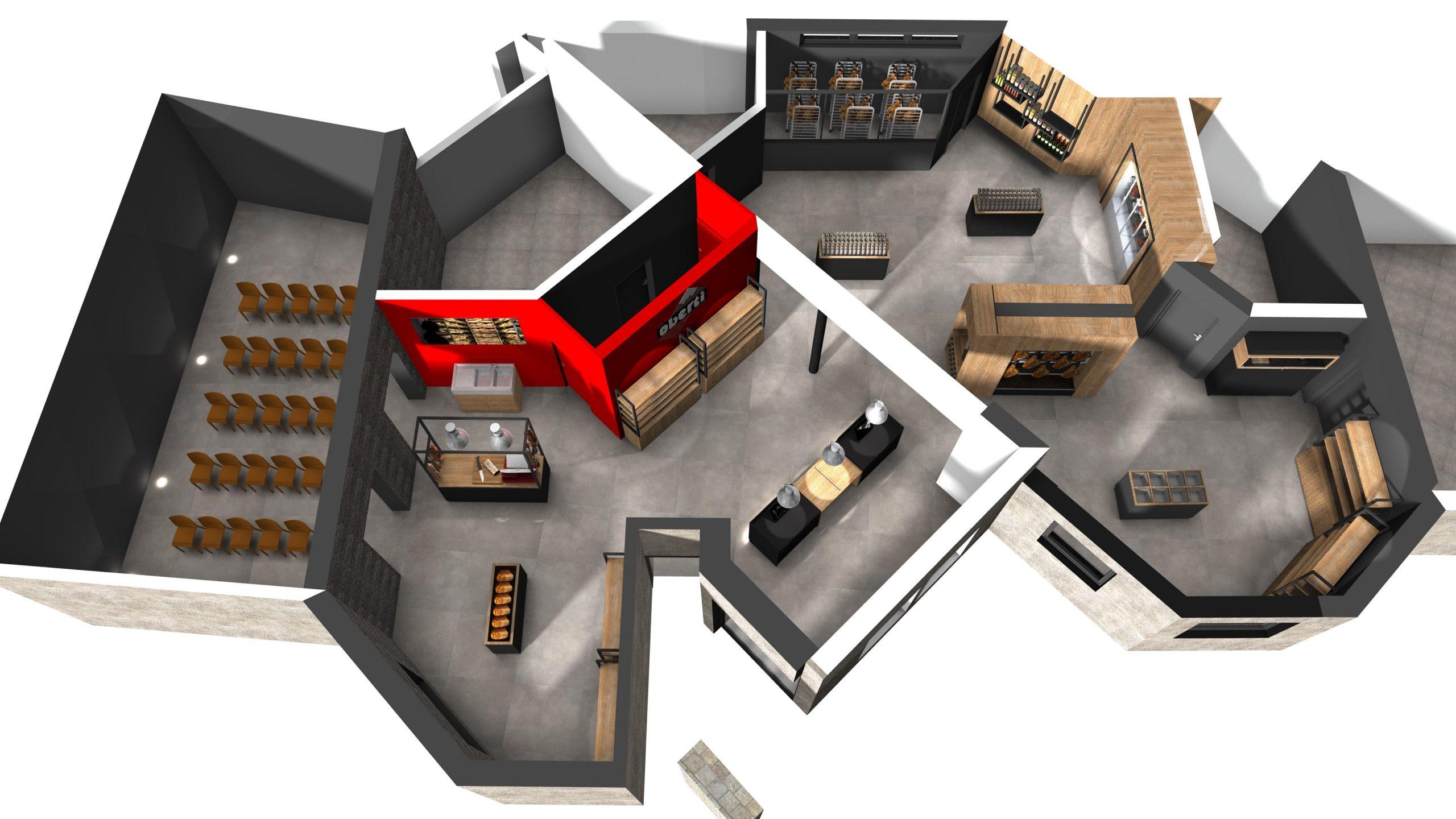 Plan 3D de l'agencement du magasin Oberti à Lacaune réalisé par SAFRA Agencement