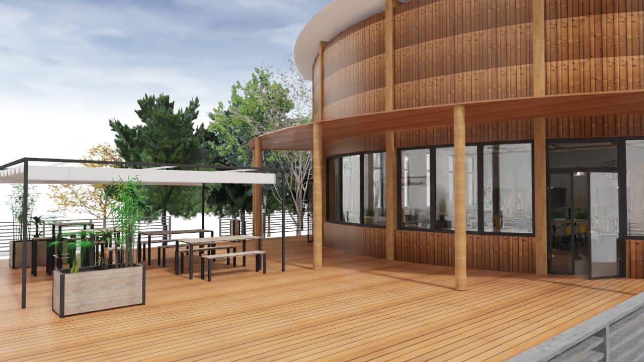Maquette 3D de la terrasse extérieure de TRIFYL agencée par SAFRA Agencement