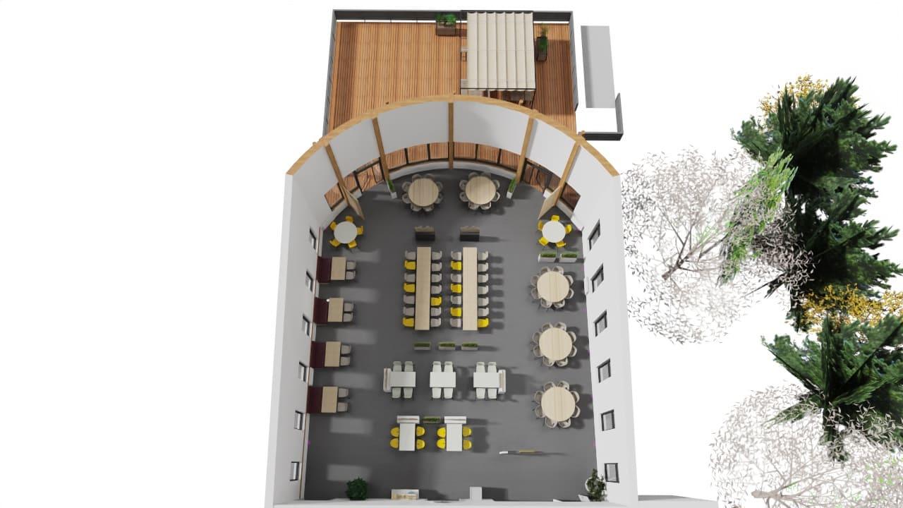 Maquette 3D de l'agencement de TRIFYL par SAFRA Agencement
