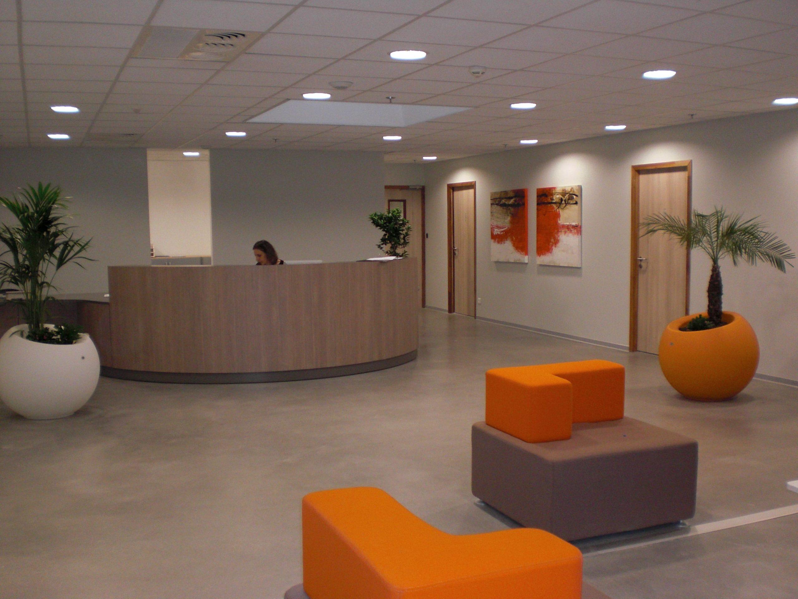 Espace accueil des bureaux du Leclerc Les Portes d'Albi agencé par SAFRA Agencement
