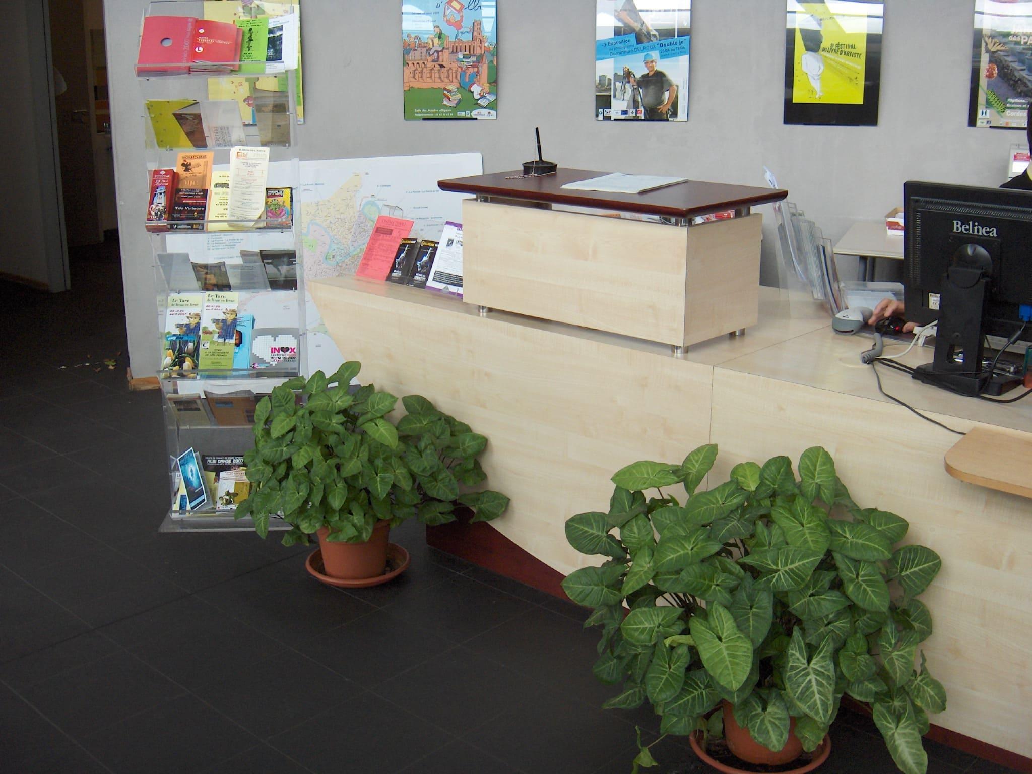 Comptoir accueil de la médiathèque d'Albi réalisé par SAFRA Agencement